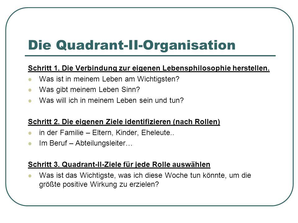 Die Quadrant-II-Organisation Schritt 1. Die Verbindung zur eigenen Lebensphilosophie herstellen. Was ist in meinem Leben am Wichtigsten? Was gibt mein