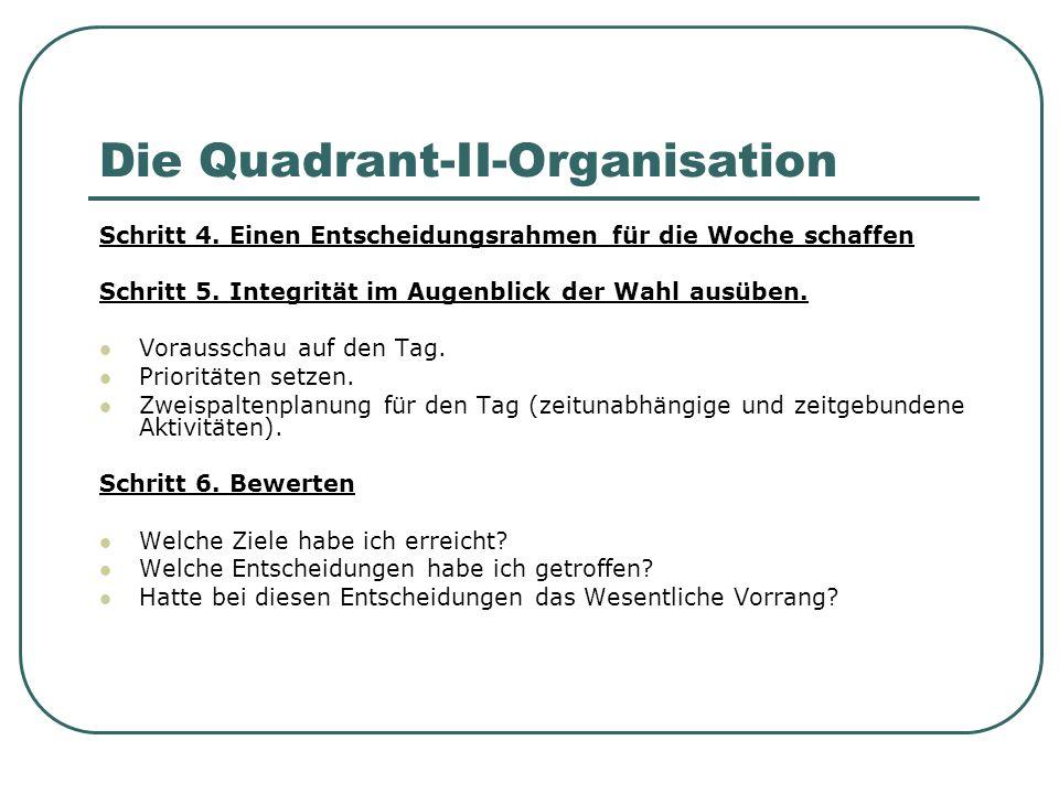 Die Quadrant-II-Organisation Schritt 4. Einen Entscheidungsrahmen für die Woche schaffen Schritt 5. Integrität im Augenblick der Wahl ausüben. Vorauss