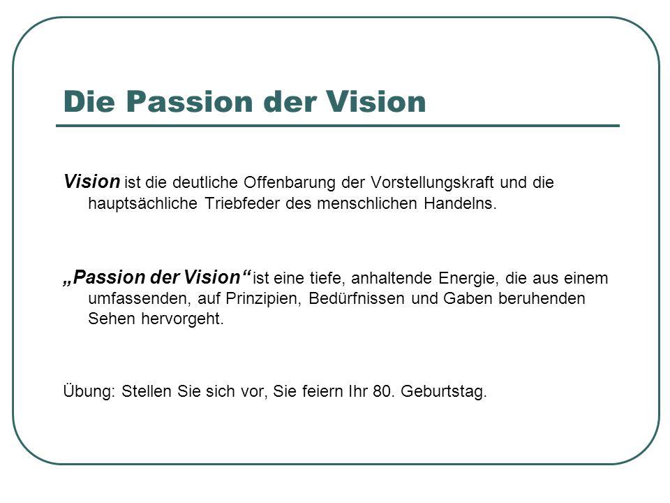 """Die Passion der Vision Vision ist die deutliche Offenbarung der Vorstellungskraft und die hauptsächliche Triebfeder des menschlichen Handelns. """"Passio"""