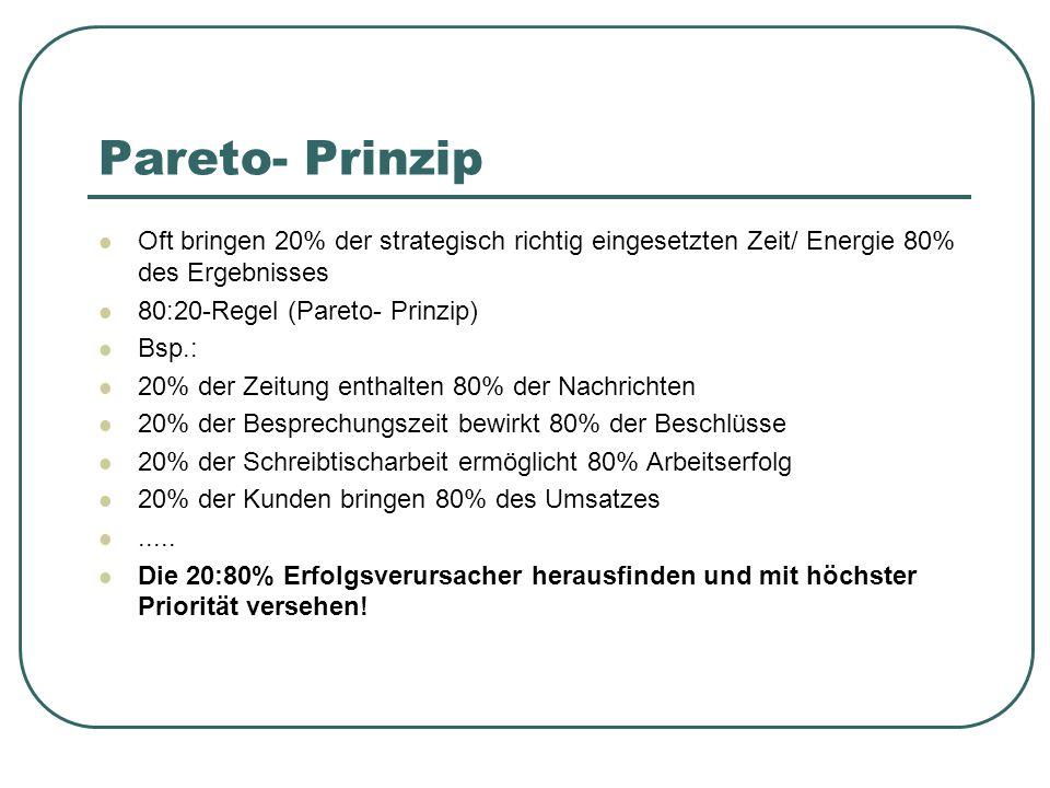Pareto- Prinzip Oft bringen 20% der strategisch richtig eingesetzten Zeit/ Energie 80% des Ergebnisses 80:20-Regel (Pareto- Prinzip) Bsp.: 20% der Zei