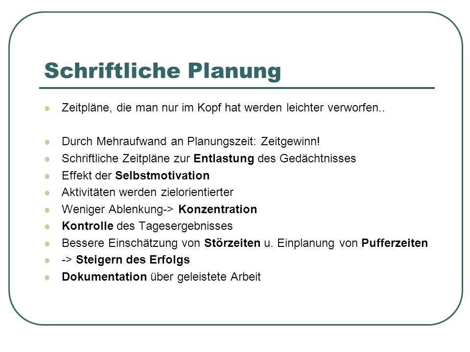 Schriftliche Planung Zeitpläne, die man nur im Kopf hat werden leichter verworfen.. Durch Mehraufwand an Planungszeit: Zeitgewinn! Schriftliche Zeitpl