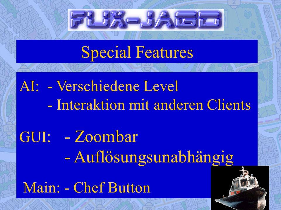 Special Features Main: - Chef Button GUI : - Zoombar - Auflösungsunabhängig AI:- Verschiedene Level - Interaktion mit anderen Clients