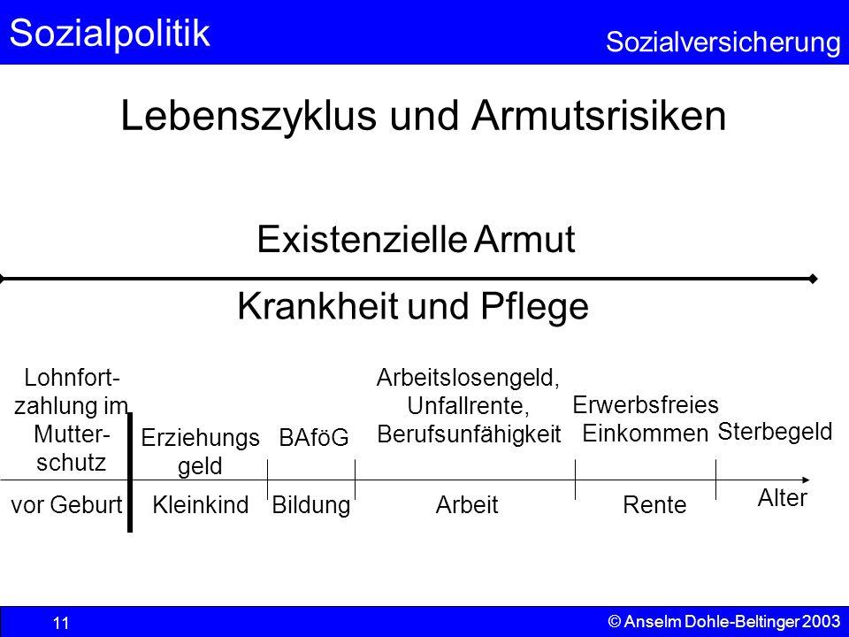 Sozialpolitik Sozialversicherung © Anselm Dohle-Beltinger 2003 12 Schwerpunktverschiebungen Quelle: Sozialbudget 2001; Bundesministerium für Gesundheit und soziale Sicherung www.bmgs.bund.dewww.bmgs.bund.de