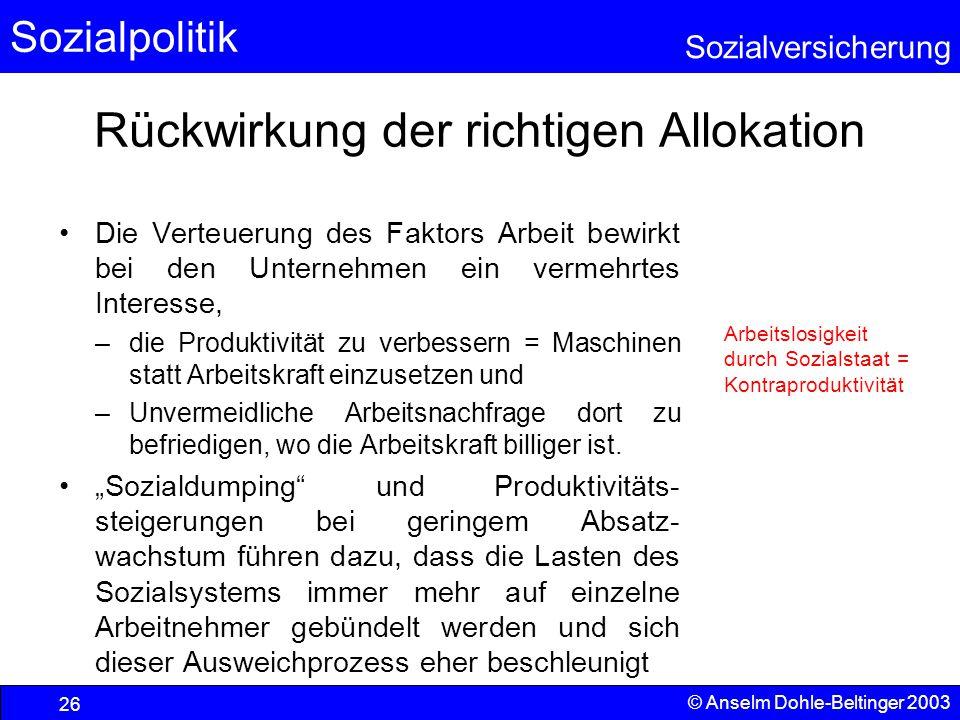 Sozialpolitik Sozialversicherung © Anselm Dohle-Beltinger 2003 27 Lösungsansätze