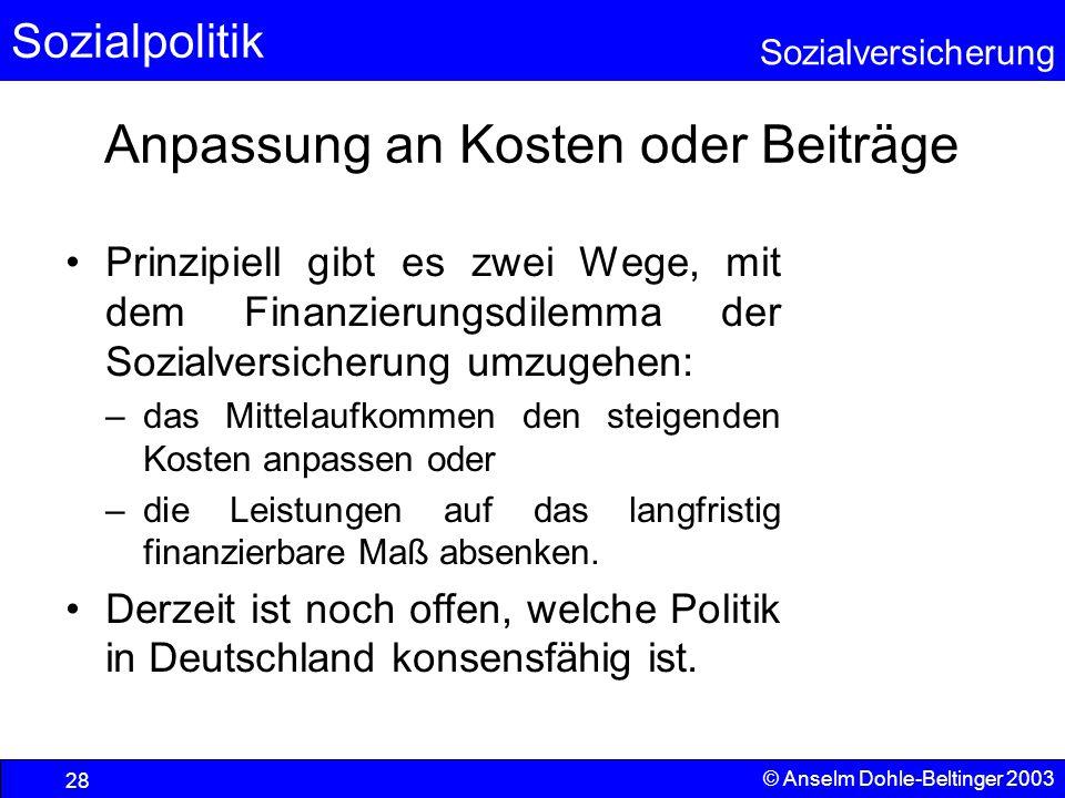 Sozialpolitik Sozialversicherung © Anselm Dohle-Beltinger 2003 29 Lösungsstrategien auf der Finanzierungsseite (1) - Maschinensteuer Umbasierung der Sozialabgaben auf andere Produktionsfaktoren, z.B.