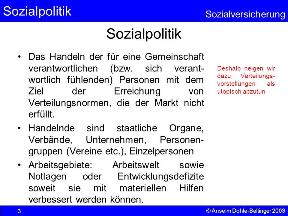 Sozialpolitik Sozialversicherung © Anselm Dohle-Beltinger 2003 4 Leitgedanke Der Sozialstaat ist ein wesentlicher und notwendiger Bestandteil unserer gesellschaftlichen, politischen und wirtschaftlichen Kultur.