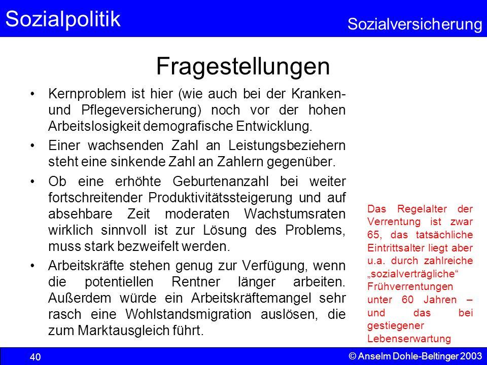 Sozialpolitik Sozialversicherung © Anselm Dohle-Beltinger 2003 41 Quelle: Statistisches Bundesamt (StBA; www.statistik-bund.de); 9.