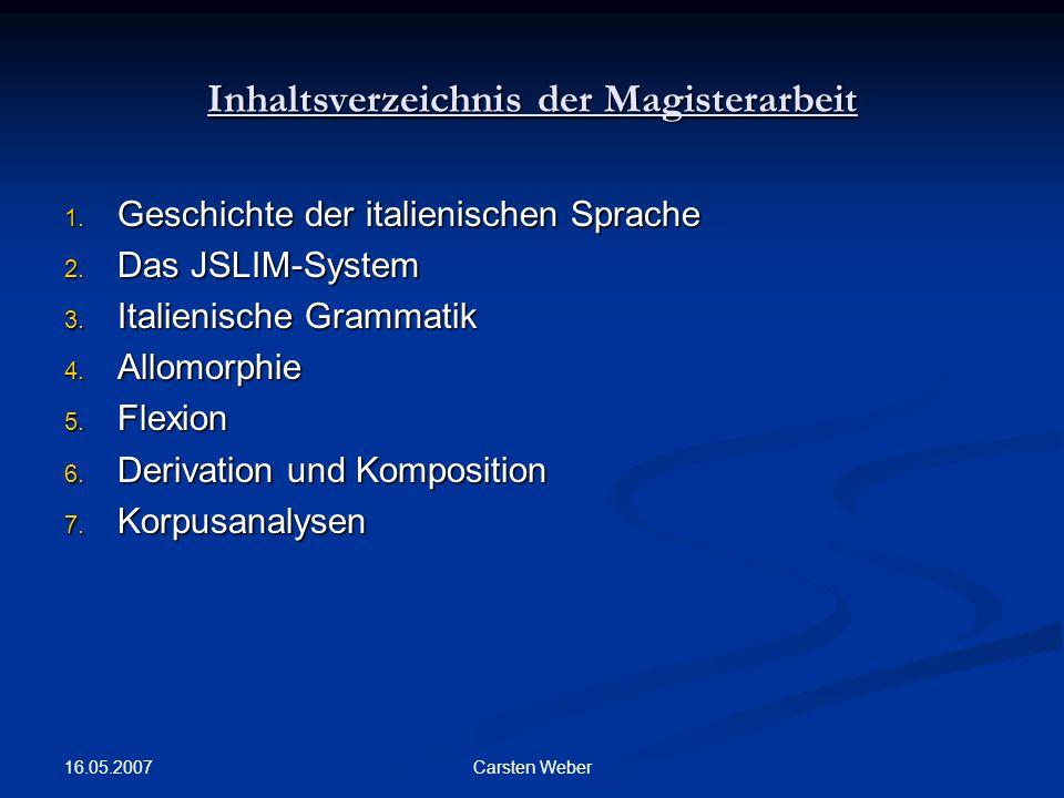 16.05.2007 Carsten Weber Inhaltsverzeichnis der Magisterarbeit 1.