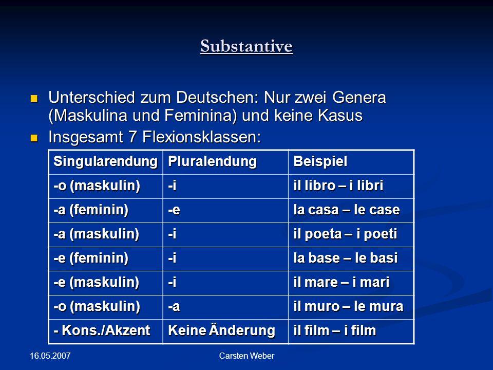 16.05.2007 Carsten Weber Substantive Unterschied zum Deutschen: Nur zwei Genera (Maskulina und Feminina) und keine Kasus Unterschied zum Deutschen: Nur zwei Genera (Maskulina und Feminina) und keine Kasus Insgesamt 7 Flexionsklassen: Insgesamt 7 Flexionsklassen: SingularendungPluralendungBeispiel -o (maskulin) -i il libro – i libri -a (feminin) -e la casa – le case -a (maskulin) -i il poeta – i poeti -e (feminin) -i la base – le basi -e (maskulin) -i il mare – i mari -o (maskulin) -a il muro – le mura - Kons./Akzent Keine Änderung il film – i film