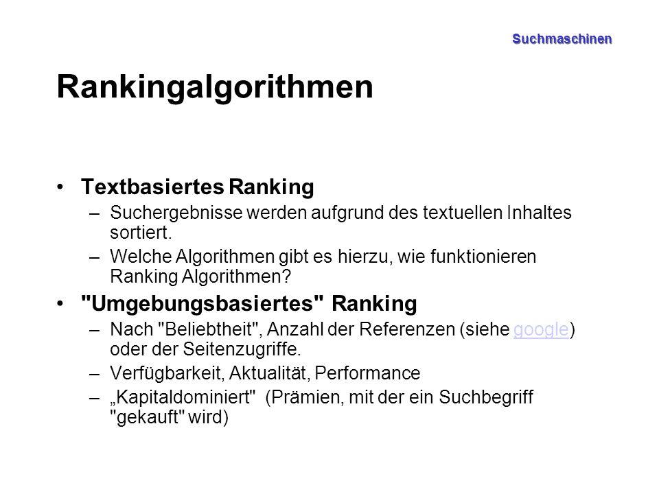 Suchmaschinen Rankingalgorithmen Textbasiertes Ranking –Suchergebnisse werden aufgrund des textuellen Inhaltes sortiert.