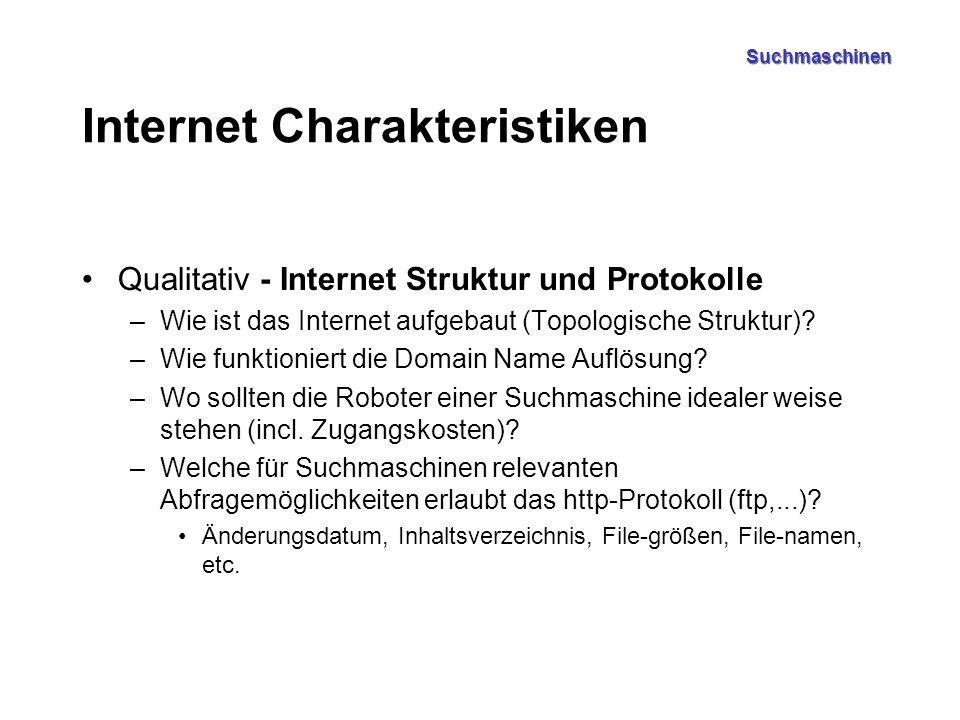 Suchmaschinen Internet Charakteristiken (2) Quantitative Internet Charakteristiken –Inhalte Wie viele Pages/Files hat das Internet, bei welchen Wachstumsraten/Änderungsraten mittlere Dateigrößen (Text, Photos, Videos, MP3 etc.) .