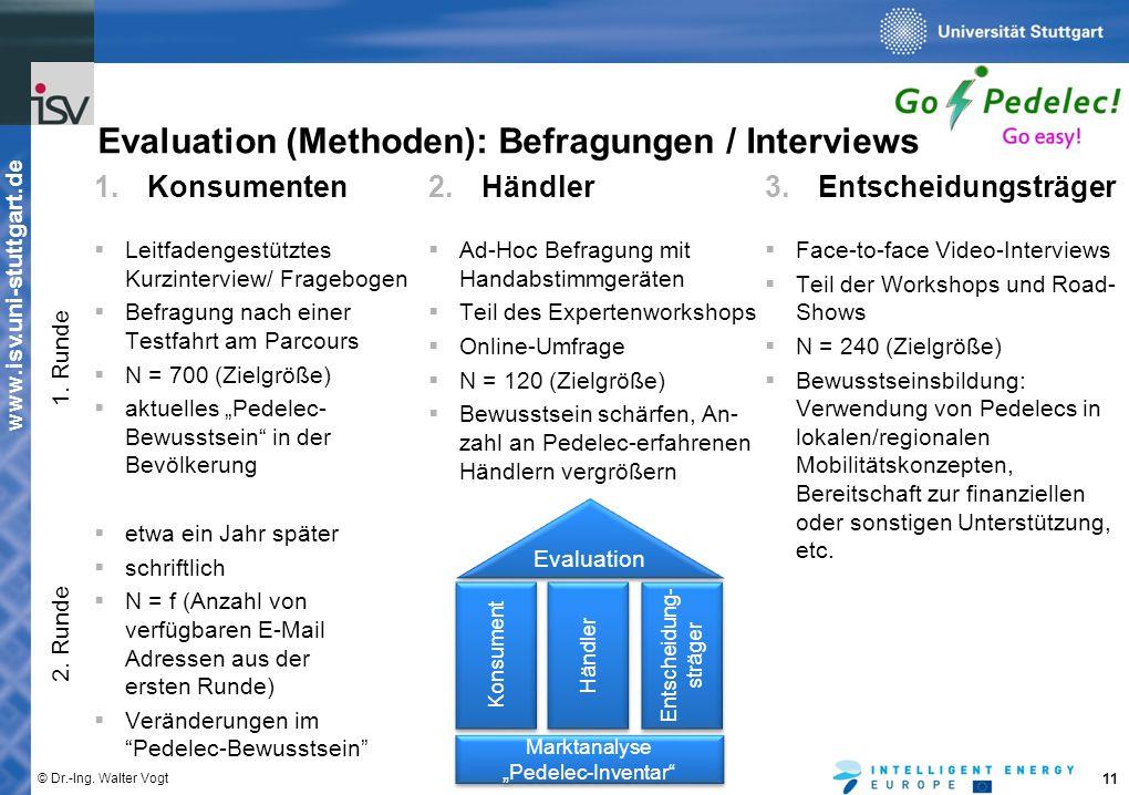 www.isv.uni-stuttgart.de © Dr.-Ing. Walter Vogt 11 1.Konsumenten  Leitfadengestütztes Kurzinterview/ Fragebogen  Befragung nach einer Testfahrt am P