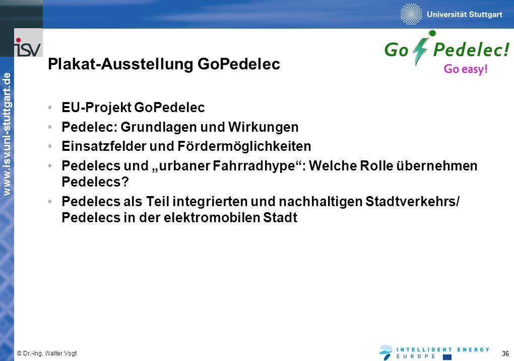 www.isv.uni-stuttgart.de © Dr.-Ing. Walter Vogt 36 Plakat-Ausstellung GoPedelec EU-Projekt GoPedelec Pedelec: Grundlagen und Wirkungen Einsatzfelder u
