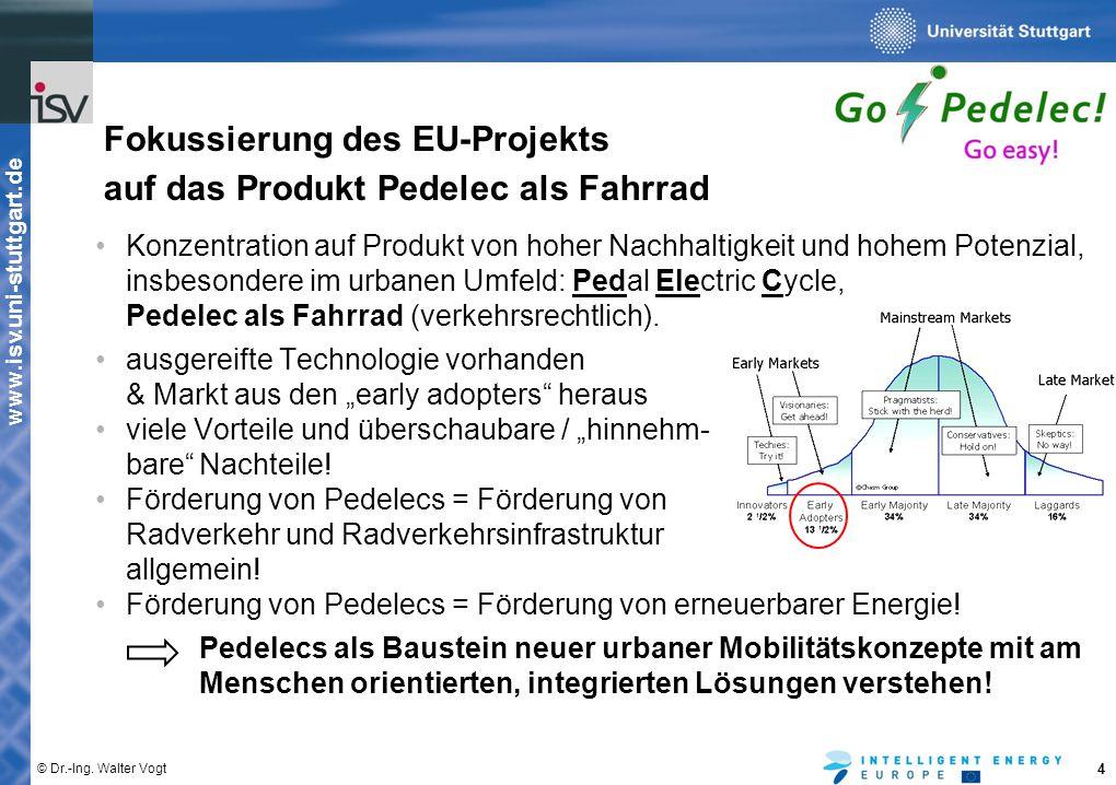 www.isv.uni-stuttgart.de © Dr.-Ing. Walter Vogt 4 Konzentration auf Produkt von hoher Nachhaltigkeit und hohem Potenzial, insbesondere im urbanen Umfe