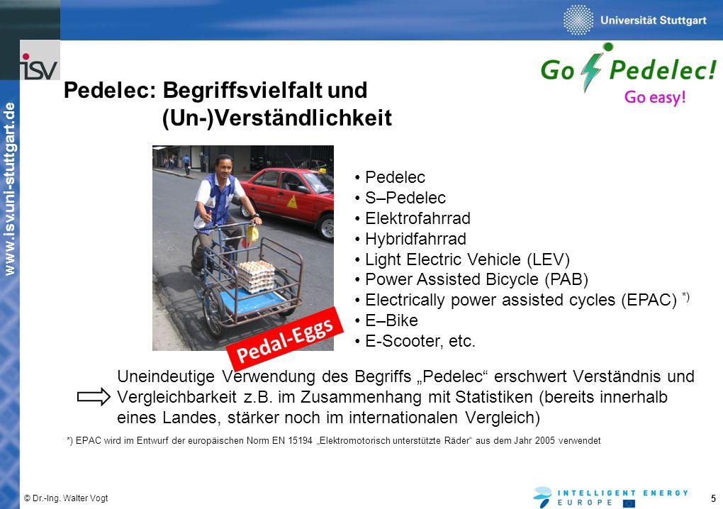 """www.isv.uni-stuttgart.de © Dr.-Ing. Walter Vogt 5 Pedelec: Begriffsvielfalt und (Un-)Verständlichkeit Uneindeutige Verwendung des Begriffs """"Pedelec"""" e"""