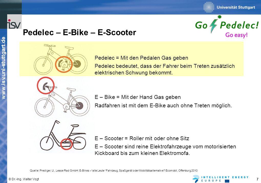 www.isv.uni-stuttgart.de © Dr.-Ing. Walter Vogt 7 Pedelec – E-Bike – E-Scooter Pedelec = Mit den Pedalen Gas geben Pedelec bedeutet, dass der Fahrer b