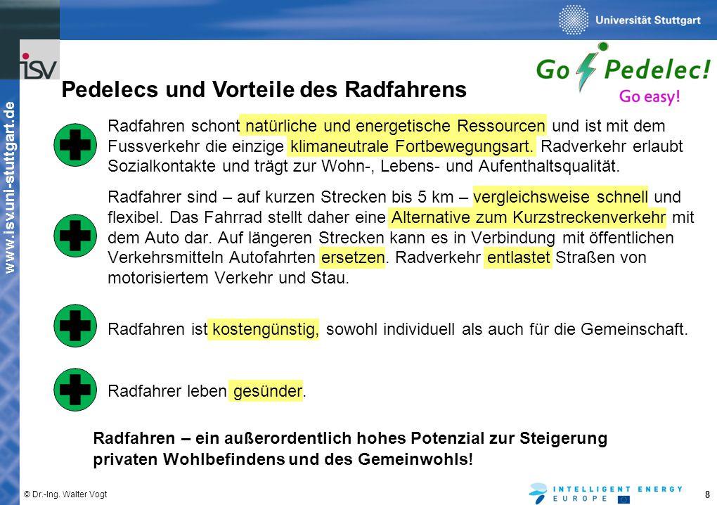 www.isv.uni-stuttgart.de © Dr.-Ing. Walter Vogt 8 Pedelecs und Vorteile des Radfahrens Radfahren schont natürliche und energetische Ressourcen und ist