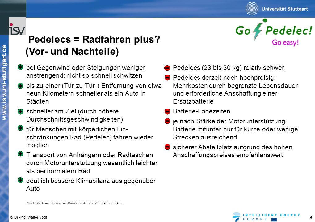 www.isv.uni-stuttgart.de © Dr.-Ing. Walter Vogt 9 bei Gegenwind oder Steigungen weniger anstrengend; nicht so schnell schwitzen bis zu einer (Tür-zu-T