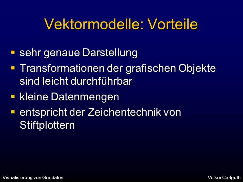Visualisierung von GeodatenVolker Carlguth Vektormodelle: Vorteile  sehr genaue Darstellung  Transformationen der grafischen Objekte sind leicht durchführbar  kleine Datenmengen  entspricht der Zeichentechnik von Stiftplottern