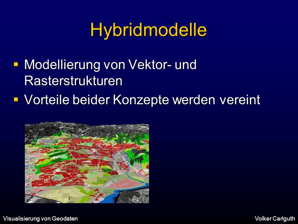 Visualisierung von GeodatenVolker Carlguth Hybridmodelle  Modellierung von Vektor- und Rasterstrukturen  Vorteile beider Konzepte werden vereint