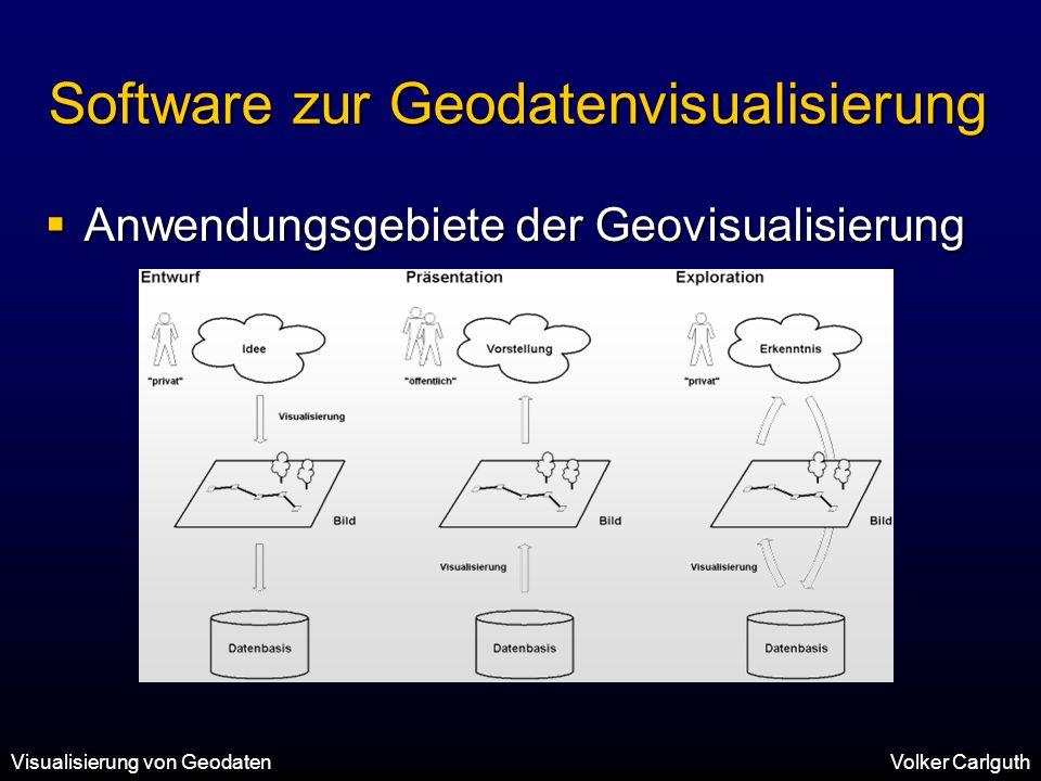 Visualisierung von GeodatenVolker Carlguth Software zur Geodatenvisualisierung  Anwendungsgebiete der Geovisualisierung