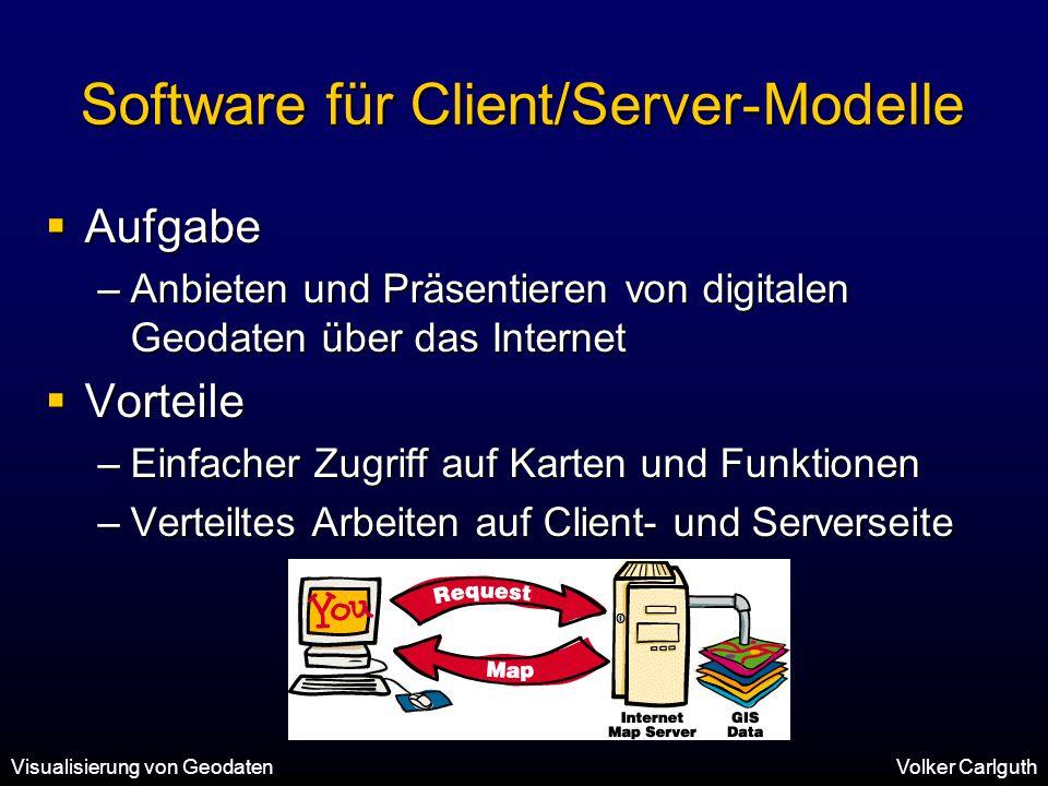 Visualisierung von GeodatenVolker Carlguth Software für Client/Server-Modelle  Aufgabe –Anbieten und Präsentieren von digitalen Geodaten über das Internet  Vorteile –Einfacher Zugriff auf Karten und Funktionen –Verteiltes Arbeiten auf Client- und Serverseite