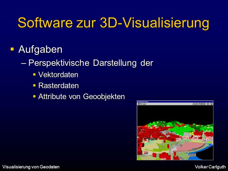 Visualisierung von GeodatenVolker Carlguth Software zur 3D-Visualisierung  Aufgaben –Perspektivische Darstellung der  Vektordaten  Rasterdaten  Attribute von Geoobjekten
