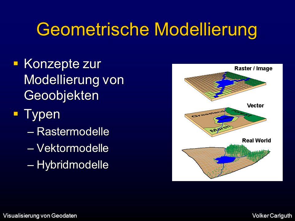 Visualisierung von GeodatenVolker Carlguth Geometrische Modellierung  Konzepte zur Modellierung von Geoobjekten  Typen –Rastermodelle –Vektormodelle –Hybridmodelle