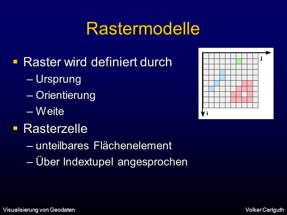 Visualisierung von GeodatenVolker Carlguth Rastermodelle  Raster wird definiert durch –Ursprung –Orientierung –Weite  Rasterzelle –unteilbares Flächenelement –Über Indextupel angesprochen