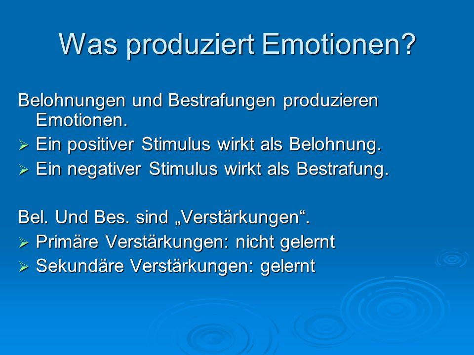 Emotion, Motivation, Belohnung und Laune unterscheiden  Emotion: ein Zustand, der durch eine Belohnung oder eine Bestrafung ausgelöst wird.