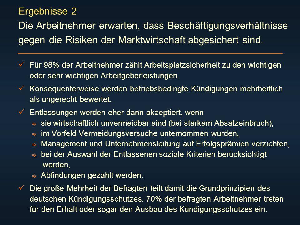 Ergebnisse 2 Die Arbeitnehmer erwarten, dass Beschäftigungsverhältnisse gegen die Risiken der Marktwirtschaft abgesichert sind.