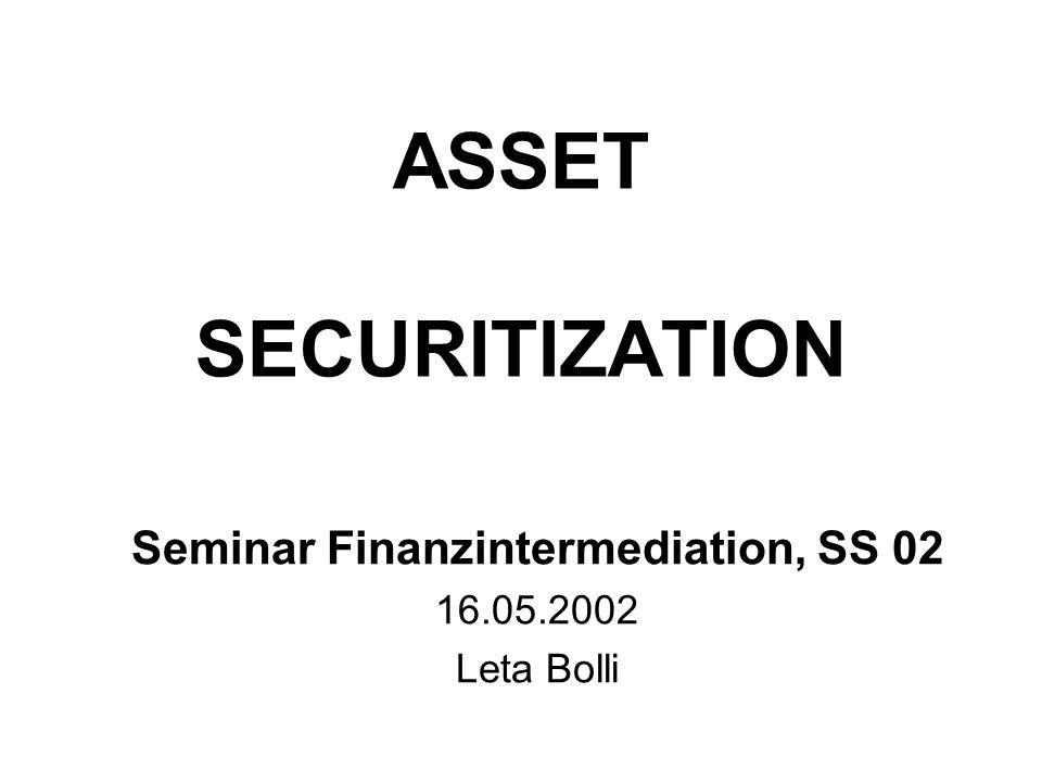 Seminar Finanzintermediation SS 02, Leta Bolli 12 Asset Securitization-Strukturvarianten Asset Securitization Strukturvarianten Pass-Through StrukturPay-Through Struktur