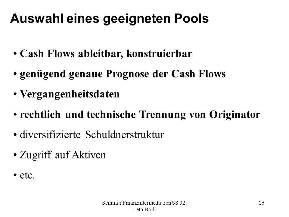 Seminar Finanzintermediation SS 02, Leta Bolli 16 Auswahl eines geeigneten Pools Cash Flows ableitbar, konstruierbar genügend genaue Prognose der Cash Flows Vergangenheitsdaten rechtlich und technische Trennung von Originator diversifizierte Schuldnerstruktur Zugriff auf Aktiven etc.