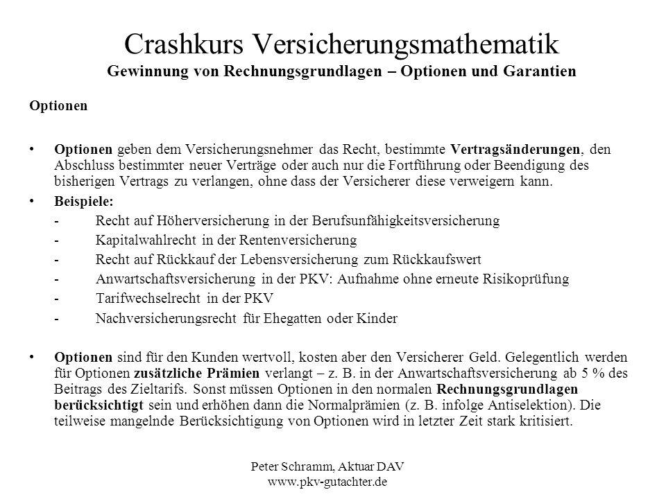 Peter Schramm, Aktuar DAV www.pkv-gutachter.de Crashkurs Versicherungsmathematik Gewinnung von Rechnungsgrundlagen – Optionen und Garantien Optionen O