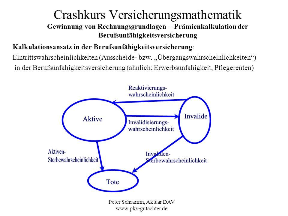 Peter Schramm, Aktuar DAV www.pkv-gutachter.de Crashkurs Versicherungsmathematik Gewinnung von Rechnungsgrundlagen – Prämienkalkulation der Berufsunfä