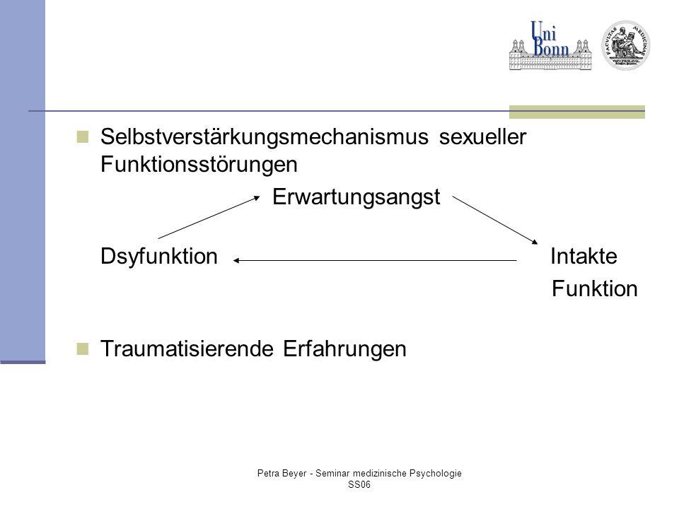 Petra Beyer - Seminar medizinische Psychologie SS06 Selbstverstärkungsmechanismus sexueller Funktionsstörungen Erwartungsangst DsyfunktionIntakte Funktion Traumatisierende Erfahrungen