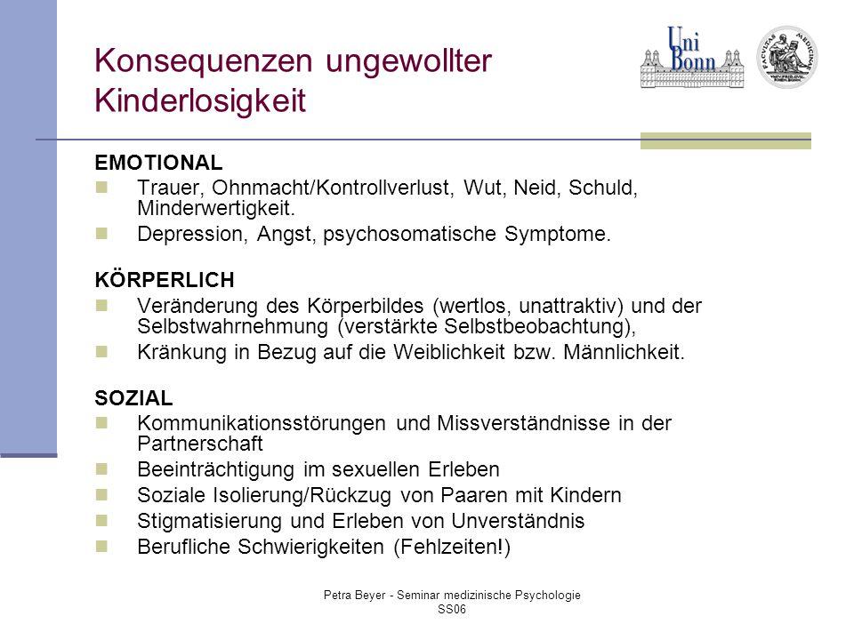 Petra Beyer - Seminar medizinische Psychologie SS06 Konsequenzen ungewollter Kinderlosigkeit EMOTIONAL Trauer, Ohnmacht/Kontrollverlust, Wut, Neid, Schuld, Minderwertigkeit.