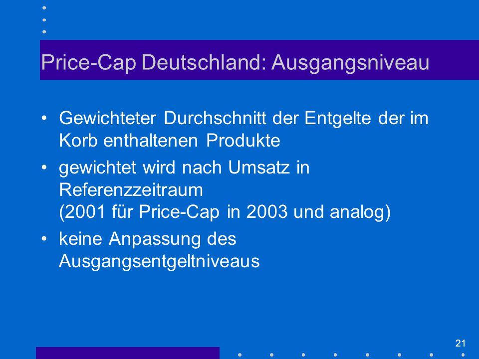 21 Gewichteter Durchschnitt der Entgelte der im Korb enthaltenen Produkte gewichtet wird nach Umsatz in Referenzzeitraum (2001 für Price-Cap in 2003 und analog) keine Anpassung des Ausgangsentgeltniveaus Price-Cap Deutschland: Ausgangsniveau