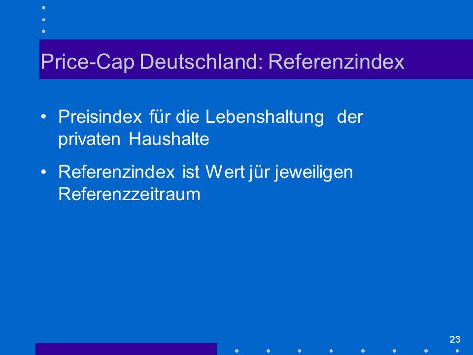 23 Preisindex für die Lebenshaltung der privaten Haushalte Referenzindex ist Wert jür jeweiligen Referenzzeitraum Price-Cap Deutschland: Referenzindex
