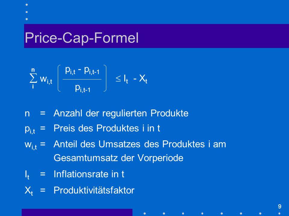 9 Price-Cap-Formel n=Anzahl der regulierten Produkte p i,t =Preis des Produktes i in t w i,t =Anteil des Umsatzes des Produktes i am Gesamtumsatz der Vorperiode I t =Inflationsrate in t X t =Produktivitätsfaktor  w i,t n i p i,t - p i,t-1 p i,t-1  I t - X t