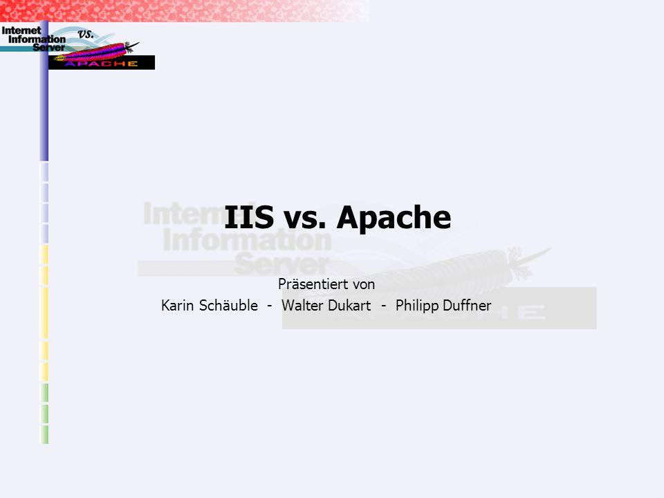 Karin Schäuble - Walter Dukart - Philipp Duffner2 Inhalt Einleitung Aufgabe eines Webservers Funktion eines Webservers Hyper Text Transfer Protocol Abgrenzung Apache/IIS Vergleich IIS/Apache Architektur Konfiguration Sicherheitsaspekte Funktionsumfang Kosten/Wartung/Updates Einleitung Vergleich Fazit Zusammenfassung Marktsituation Aussichten
