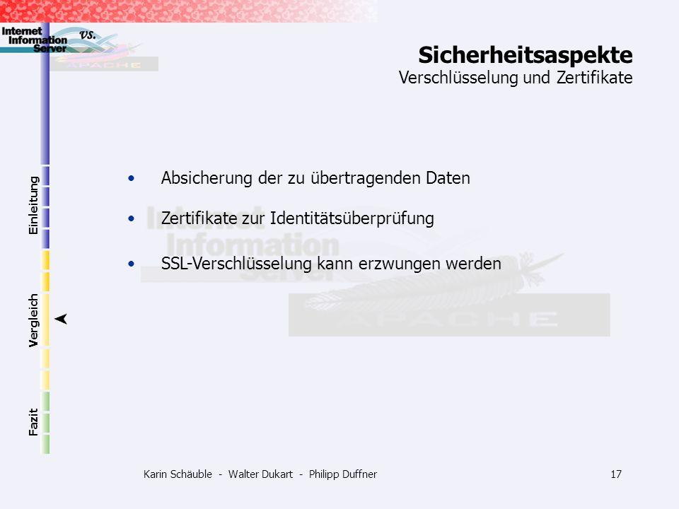 Karin Schäuble - Walter Dukart - Philipp Duffner17 Einleitung Vergleich Fazit Absicherung der zu übertragenden Daten Zertifikate zur Identitätsüberprü