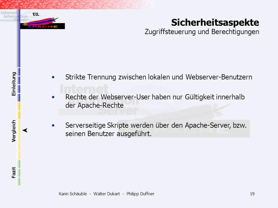 Karin Schäuble - Walter Dukart - Philipp Duffner19 Einleitung Vergleich Fazit Zugriffsteuerung und Berechtigungen Strikte Trennung zwischen lokalen un
