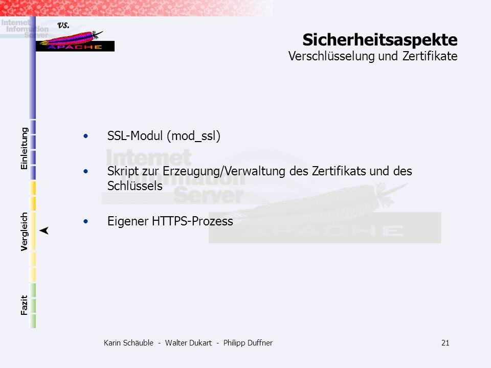 Karin Schäuble - Walter Dukart - Philipp Duffner21 Einleitung Vergleich Fazit SSL-Modul (mod_ssl) Skript zur Erzeugung/Verwaltung des Zertifikats und
