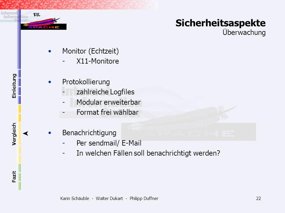 Karin Schäuble - Walter Dukart - Philipp Duffner22 Einleitung Vergleich Fazit Monitor (Echtzeit) -X11-Monitore Protokollierung -zahlreiche Logfiles -M
