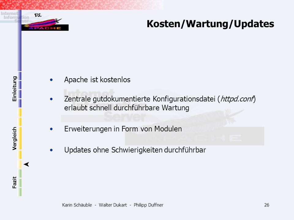 Karin Schäuble - Walter Dukart - Philipp Duffner26 Einleitung Vergleich Fazit Kosten/Wartung/Updates Apache ist kostenlos Zentrale gutdokumentierte Ko