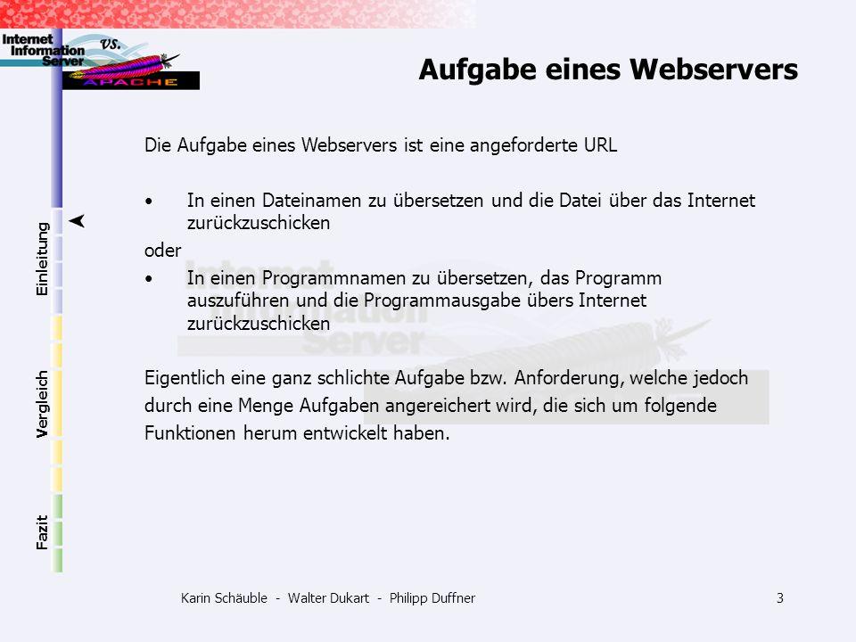 Karin Schäuble - Walter Dukart - Philipp Duffner14 Einleitung Vergleich Fazit Konfiguration Flexible Konfiguration Manuelle Bearbeitung von: -httpd.conf -srm.conf -access.conf Es gibt auch grafische Oberflächen (X11) für die Konfiguration