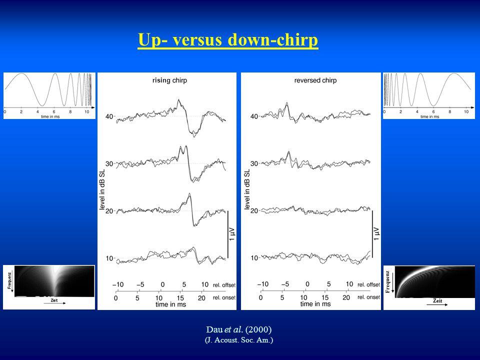 """ In Cochlea erzielte """"optimale"""" Synchronisation durch den Chirp führt auch zu erhöhter Synchronisation im Hirnstamm (Welle V). Click- und chirp-evozi"""