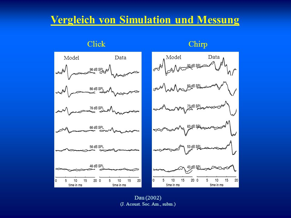 Modellierung von evozierten Potenzialen Berechnung der summierten synchronisierten Neuronenaktivität, basierend auf realistischem Cochlea-Modell. Mitt