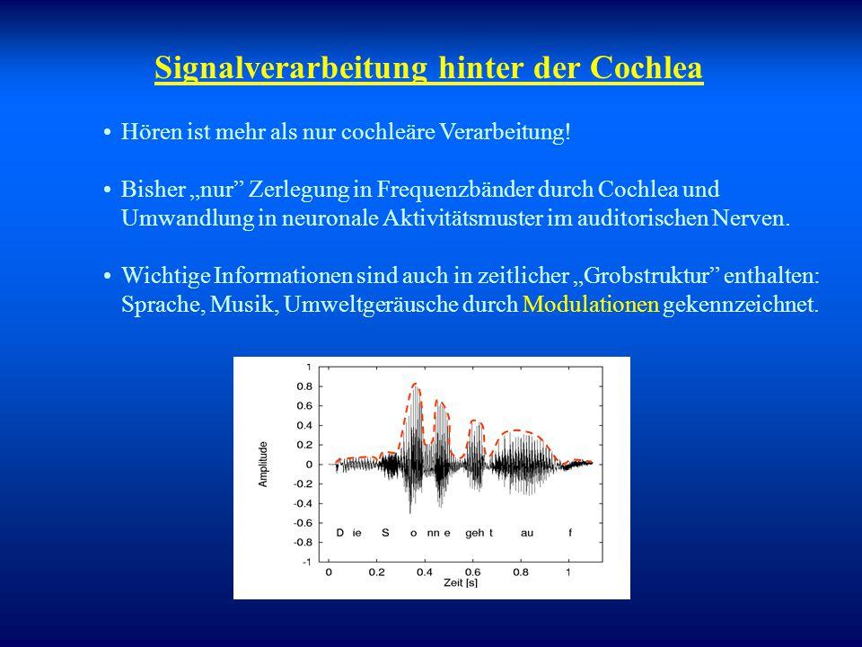 """Das Gehör aus """"physikalischer Sicht"""" Dau et al. (1997) (J. Acoust. Soc. Am.) Einhüllenden- extraktion Dynamik- kompression Zeitliche Kontrastierung Fr"""